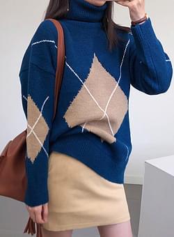 Argyle Diamond Polar Long Knit