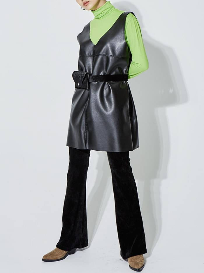 deep v-neck leather sleeveless ops (2 color)