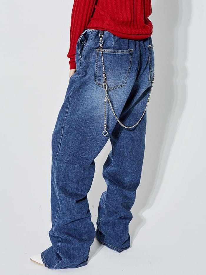 wide denim long pants - UNISEX