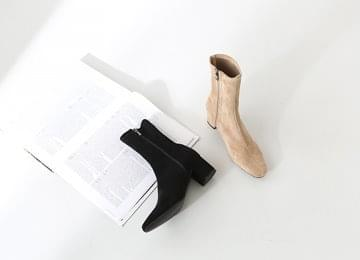 Suede mid-heeled boots