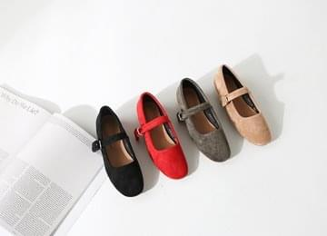 Suede Buckle Mary Jane Flat