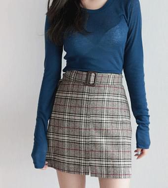 Vis Belt Skirt Wool 10%