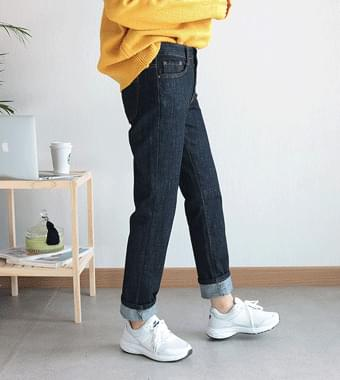 Fleece denim pants