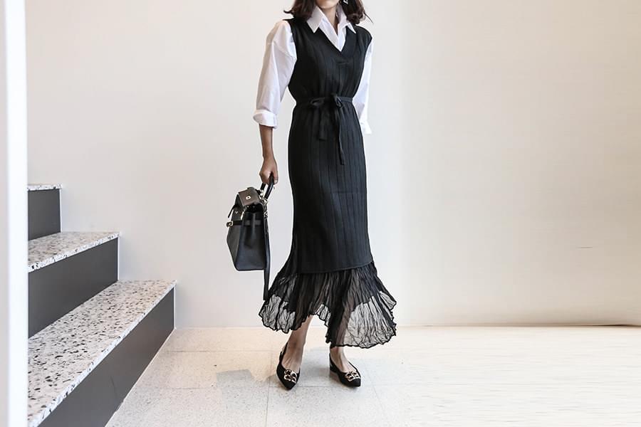 Shirt Knit Dress Coordinated Set _st02782