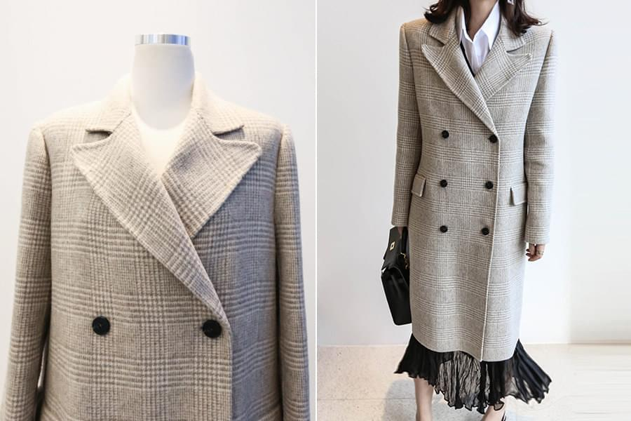 Handmade wool90%> Check double long coat _ct02783