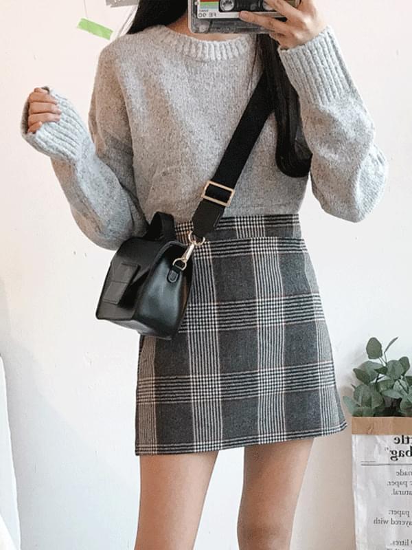Jewel night check skirt