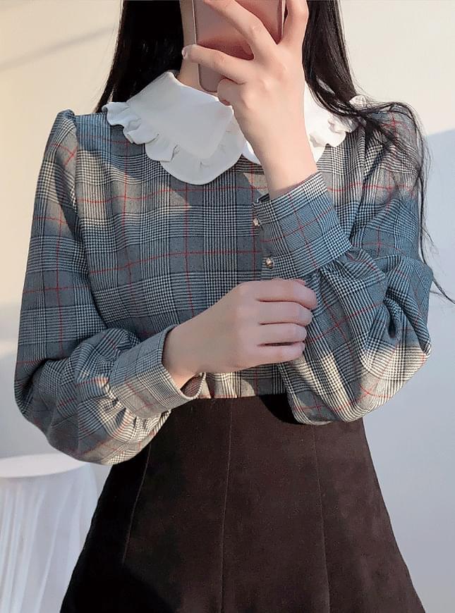 ♥ Barney embroidery ribbon check blouse