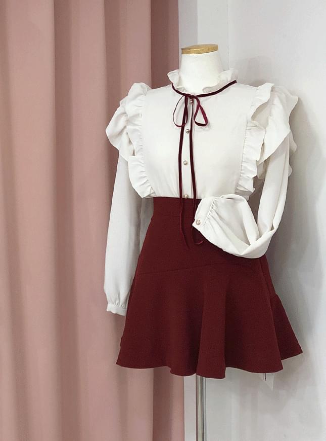 ♥ Adela ruffle color ribbon blouse