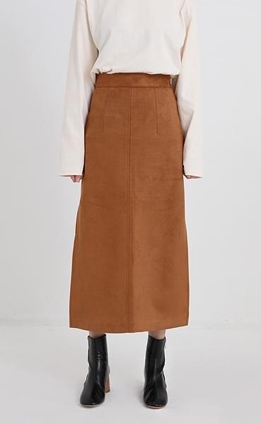 suede long slit skirt (2colors)