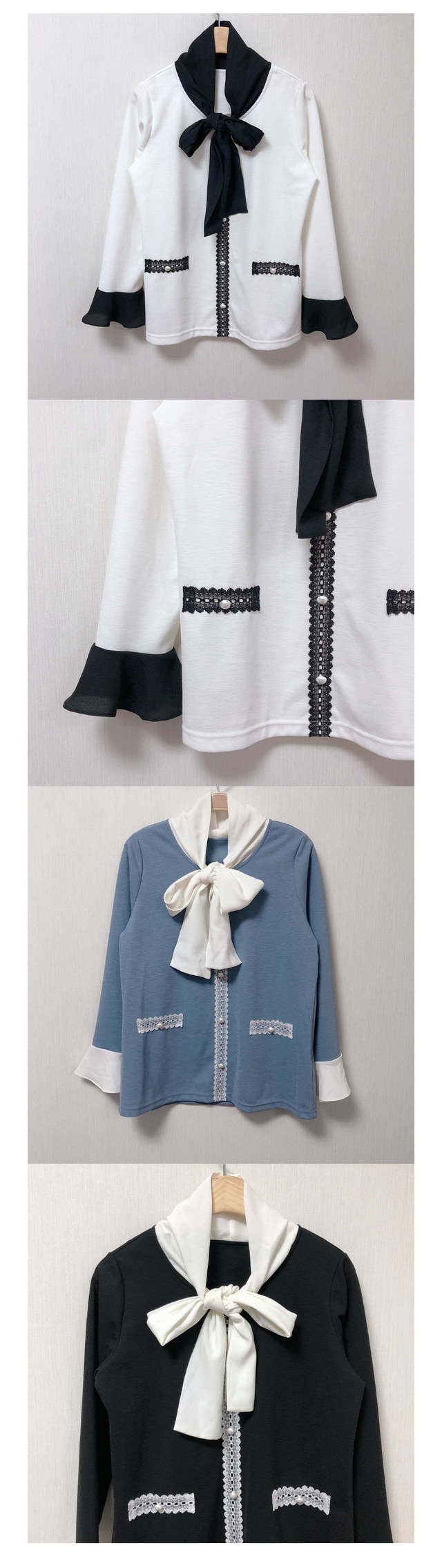 ♥ Lenny Big ribbon pearl on the day ships blouse