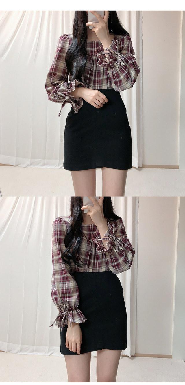 Burgundy square check blouse