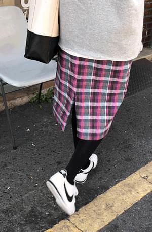 Exclusive wear / Mondrian-corduroy check skirt
