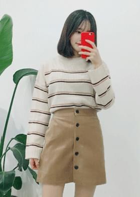 Brushed button mini skirt