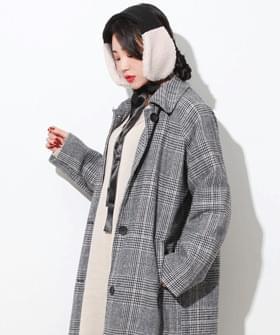 Herring Check woolen long coat