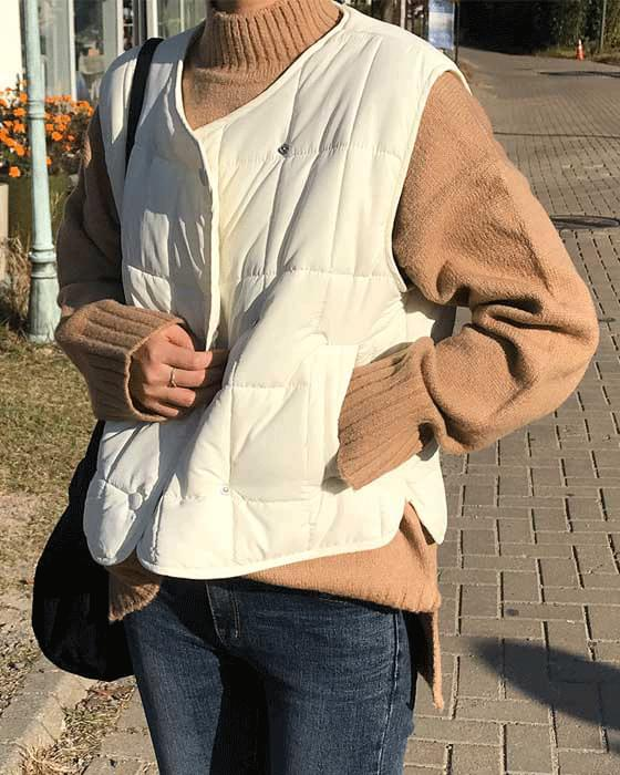 Double button lightweight padded vest 3color