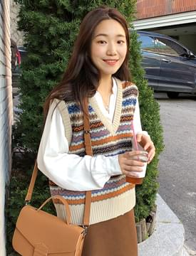 Note vintage knit vest_S (size : free)