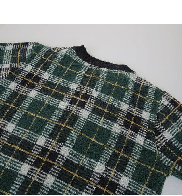 Christmas-check cardigan [size: 44 ~ 66 / 2color]