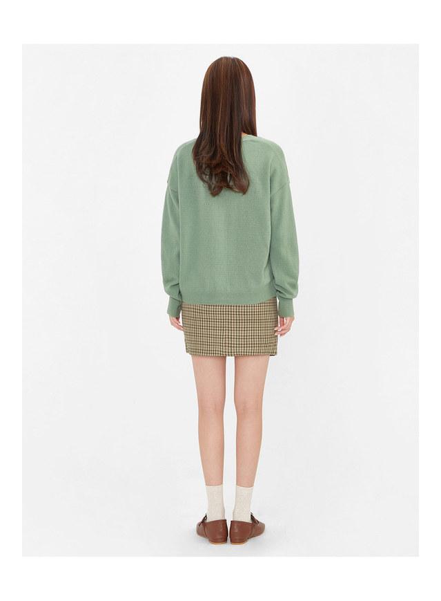 unbalance check mini skirt (s, m)