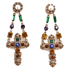 SHINE CROSS CUBIC DROP EARRING