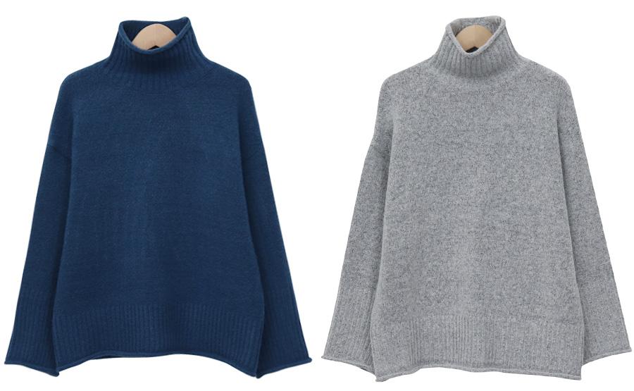 Sugar half turtle knit_J (size : free)
