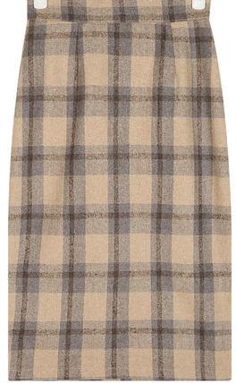 straight slit check midi skirt (s, m)