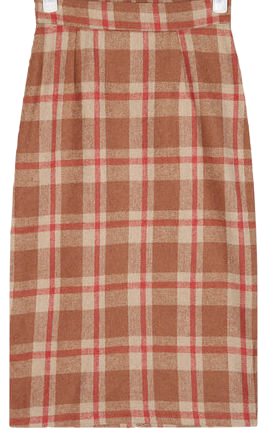 straight slit check midi skirt (s, m)