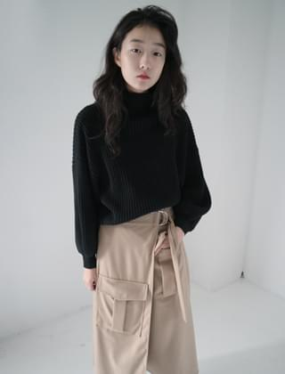 balloon sleeve short knit (3colors) 針織衫