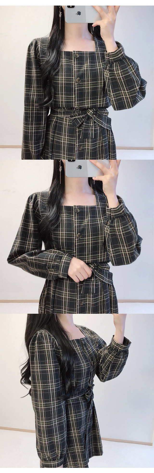 Order congestion discount ♥ tartan check square mini ops