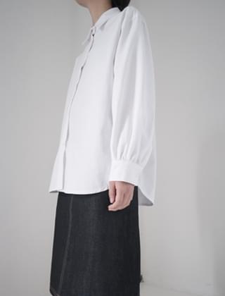 sleeve shirring cotton shirt (3colors)