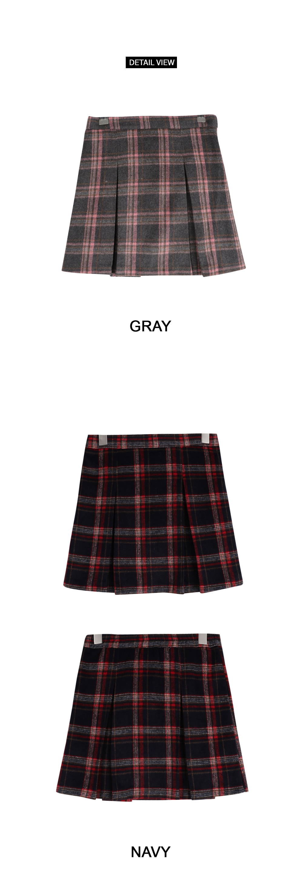 Cherry London pleated check skirt