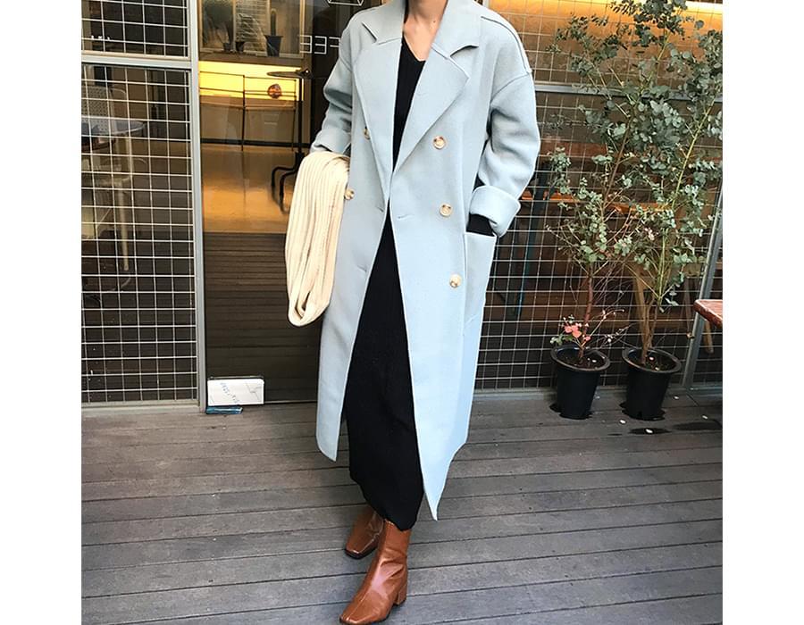 Reverse line double coat_B (울 50%) (size : free)