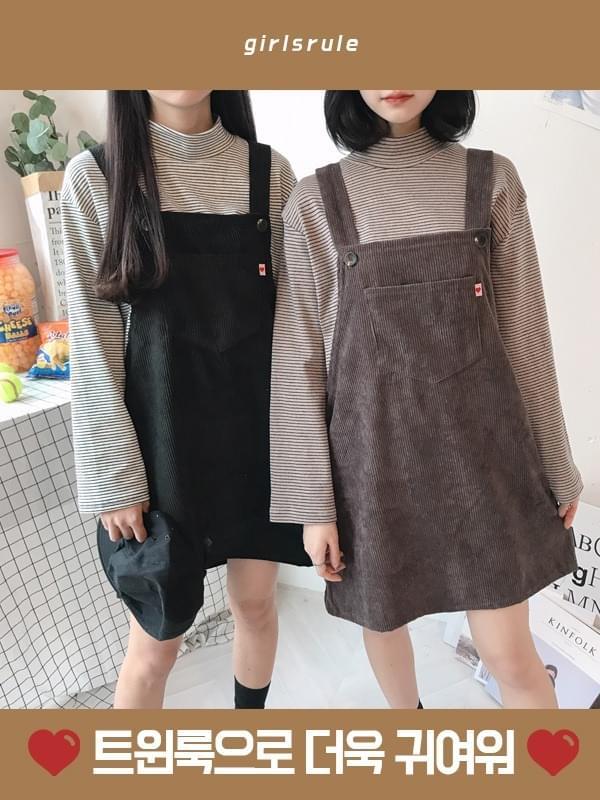 Mini Corduroy Overalls Dress