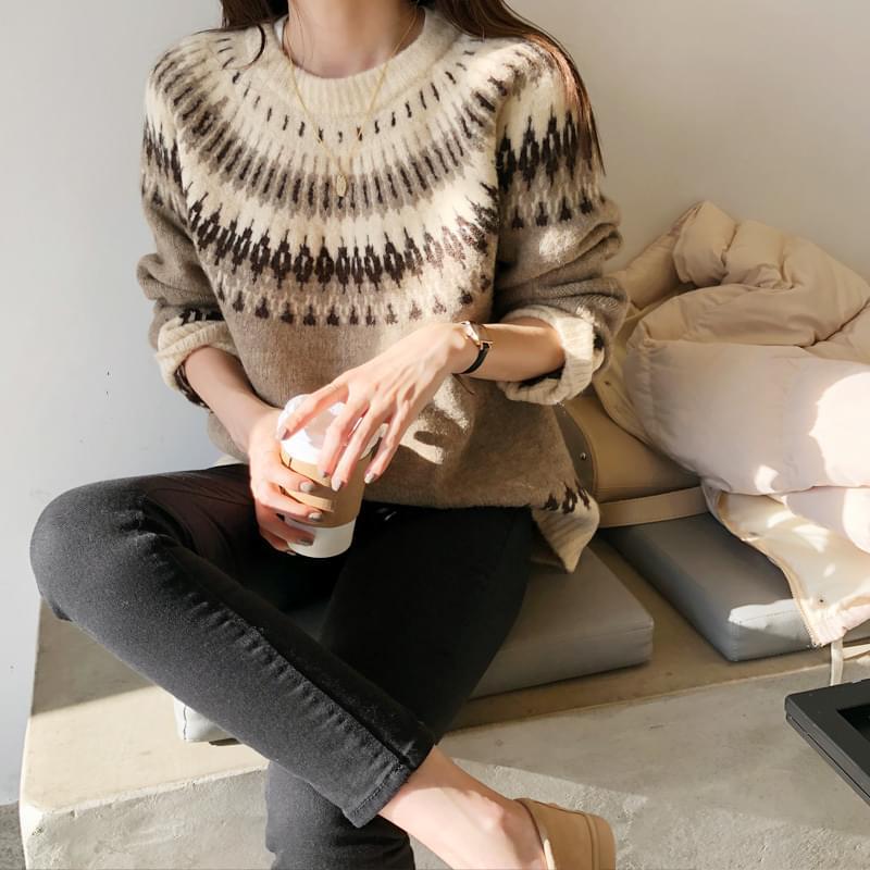 Nordic Snowflake knit brown