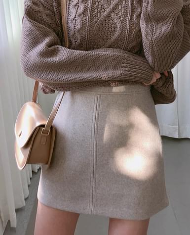 A line wool mini skirt
