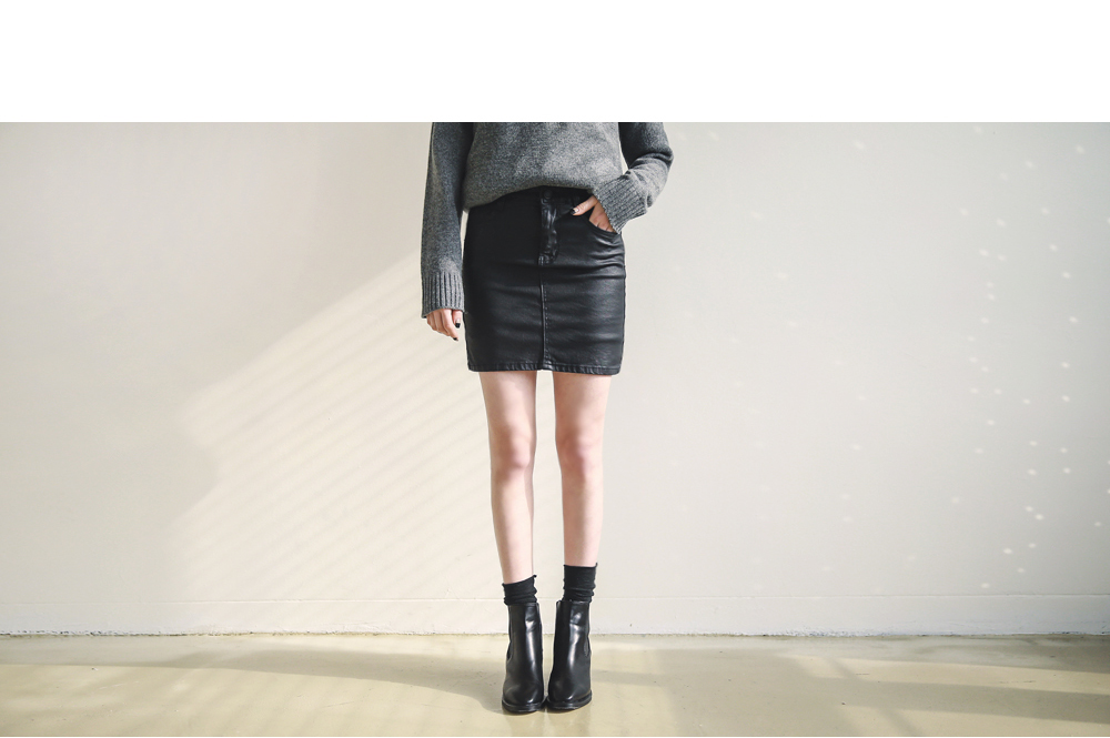 H-LINE LEATHER SKIRT