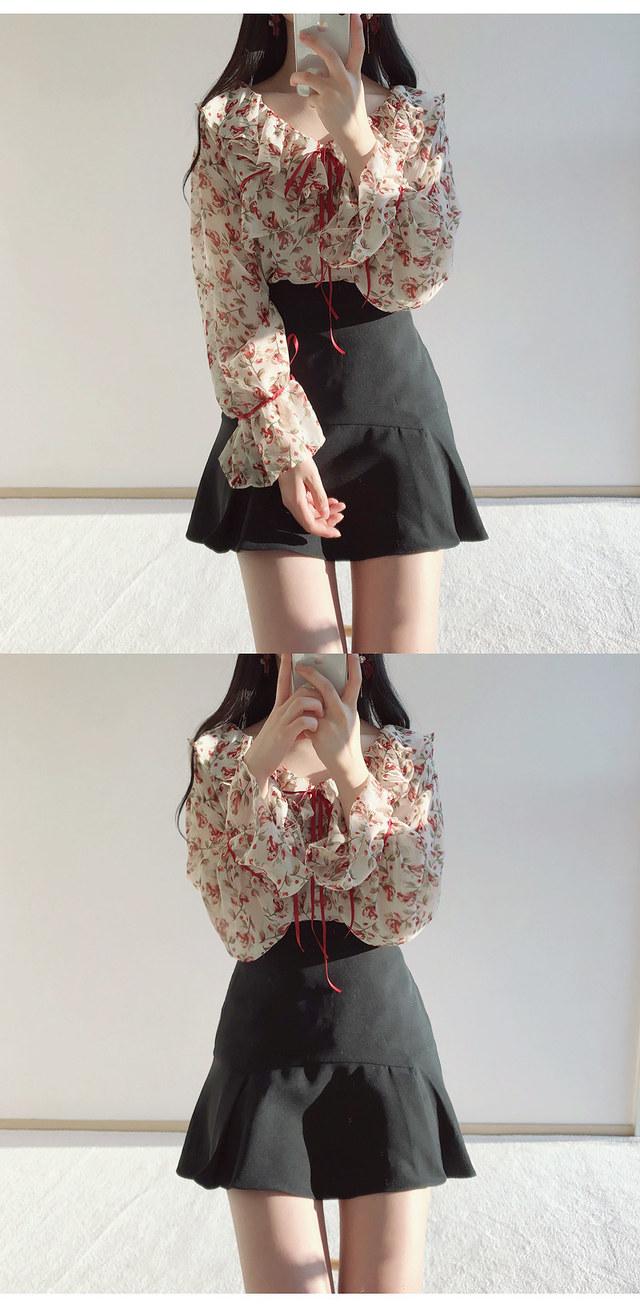 Order congestion discount ❤️ Irene flower ribbon blouse
