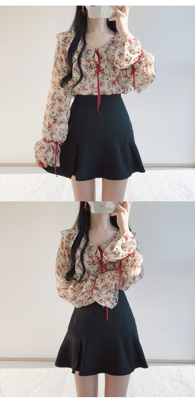 Order congestion discount ❤️ Irene flower ribbon blouse