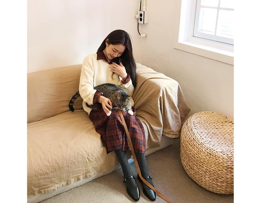 Loft simple v-neck knit_K (size : free)