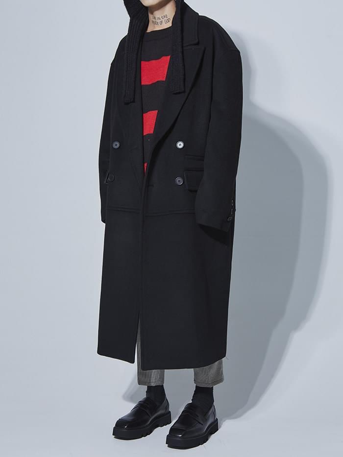 wool double long coat (2 color) - UNISEX