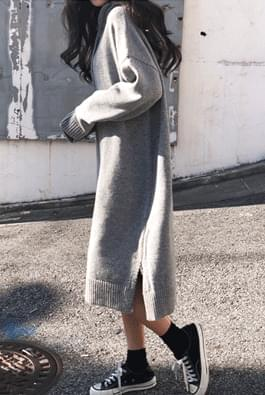Girl hooded wool knit dress
