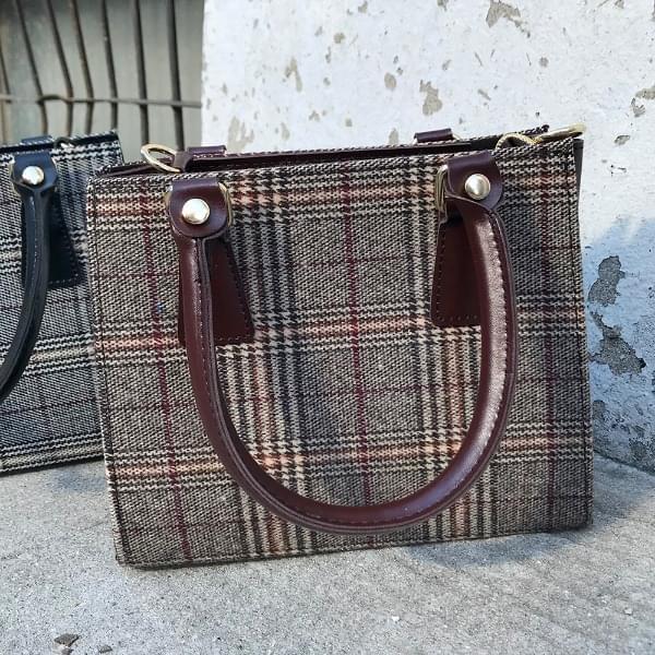 Tartan square check bag