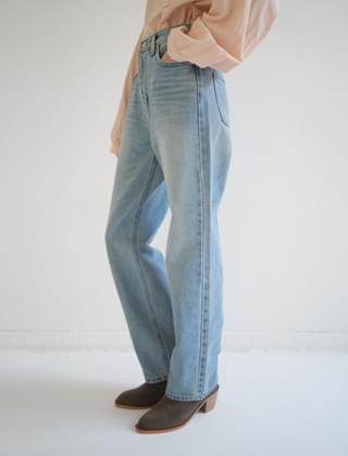 plain washing denim pants (2colors)