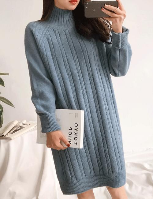 Banpoa twill knit dress