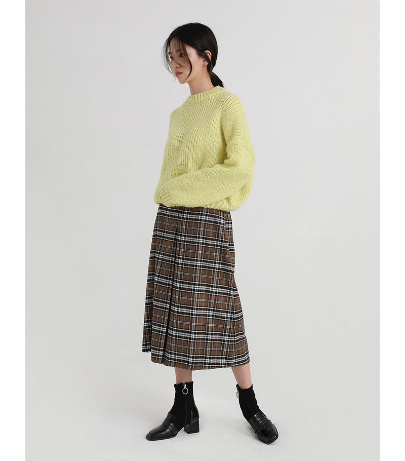 mini crop round knit (3colors)