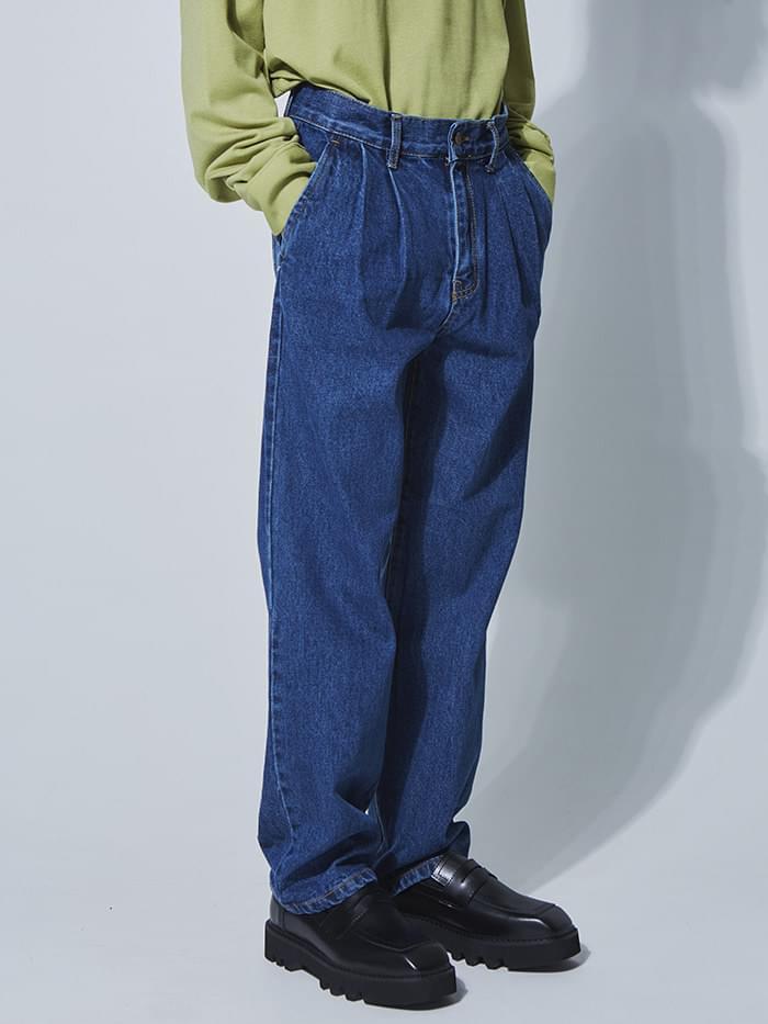 two-tuck wide denim pants - UNISEX