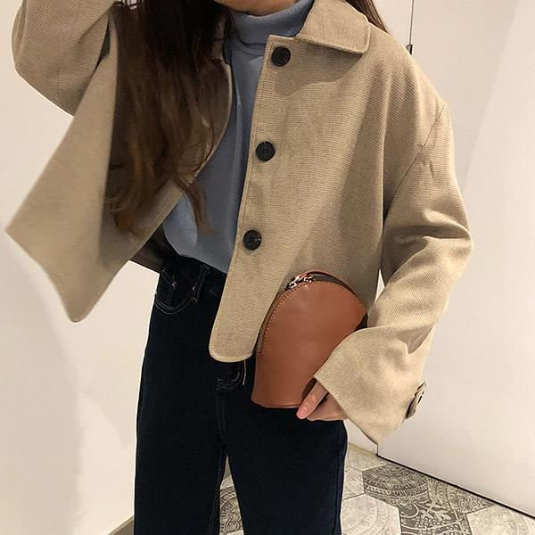 Coffee button wool collar jacket