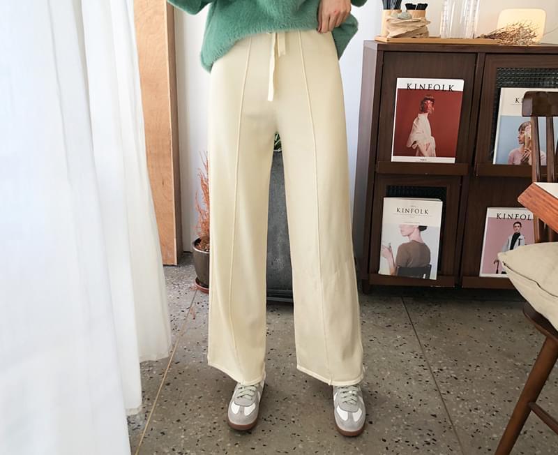 Knit wide pants