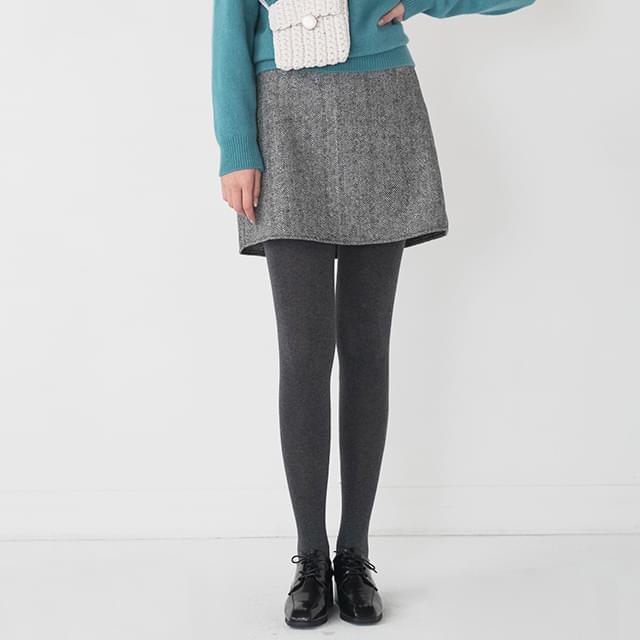 wool herringbone a line skirt