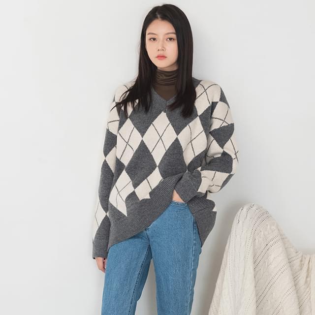 argyle pattern wool knit