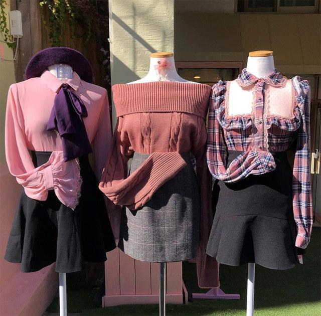 Romance velvet checked see-through blouse